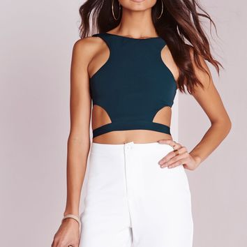 Missguided - Wrap Around Crop Top Teal