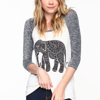 TRIBAL ELEPHANT BASEBALL TEE