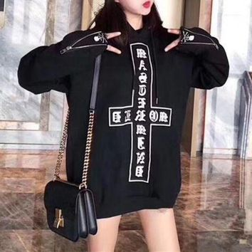 DCCKH3L Chrome Hearts' Women Casual Fashion Personality Skull Cross Letter Pattern Print Loose Long Sleeve Hooded Sweater Tops