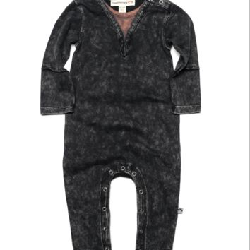 Appaman Reclaimed Henley Romper in Vintage Black