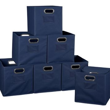 Niche Cubo Set of 12 Foldable Fabric Storage Bins- Blue