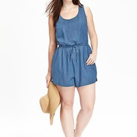 Old Navy Womens Plus Chambray Rompers