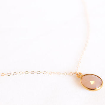 Pink Chalcedony Necklace -  Round Gemstone Necklace - Oval Bezel - Pink Bridesmaids Gift - Layering Necklace - Simple Necklace - Natural Raw