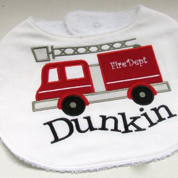 Appliqued Boy Bib Firetruck on Custom Made White Bib