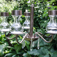 Isobel - Vintage garden solar chandelier with French crystal for garden or wedding