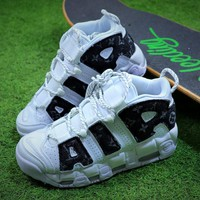 Louis vuitton LV x Supreme x Nike Air More Uptempo Sup White Black Retro Basketball Shoes - Best Online Sale
