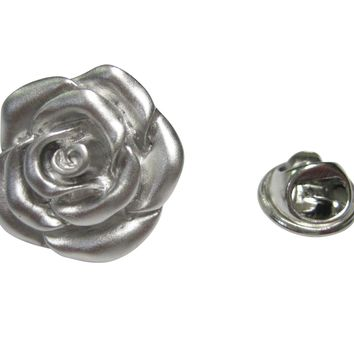Silver Toned Rose Flower Lapel Pin