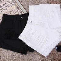 White Denim Shorts Women 2016 Summer Fashion Black Ripped Jeans Shorts Hole Tassel Femme Shorts  Top Quality D04