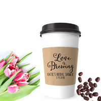 Coffee Sleeve Stamp | Coffee Bridal Shower Stamp | Love Is Brewing Stamp | Coffee Wedding Favor Stamp | Custom Wedding Stamp | Coffee Favor