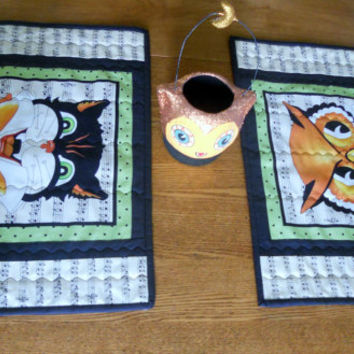 Halloween Placemats Quilted Black and White Reversible Black Cat Owl Set of Two