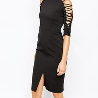 Lavish Alice Pencil Dress with Lace Up Detail and Front Split at asos.com