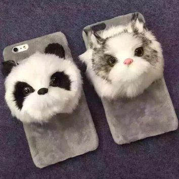 cute furry panda cat iphone 6 6s plus case cover gift 159  number 1