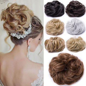 Extra Thick Curly Messy Bun Hair Piece Scrunchie 100% Natural Hair Extensions KD