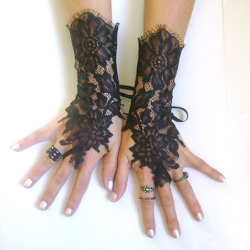 Black lace gloves french lace  bridal  wedding fingerless gloves black gloves burlesque body tattoo   vampire show girl glove