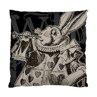 Custom Alice in Wonderland White Rabbit Throw Pillow Case Cushion Cover Girl Child Gift Pilows Covers Square Room Home Decor 18