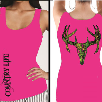 Country Life Outfitters Pink Camo Realtree Deer Skull Head Hunt Vintage Bright Fitted Tank Top Shirt