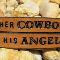 His Hers Hand Tooled Leather Bracelet Cuff - Her Cowboy His Angel - Set of Two, Pair of Bracelets - Snap