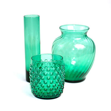 Emerald Glass Vase Trio - SET OF 3 Retro Sea Green Vases - Small Hobnail (Anchor Hocking), Large Fluted, Tall Cylinder - Vintage Home Decor