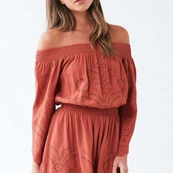 ASTR Sofia Cutwork Off-The-Shoulder Romper