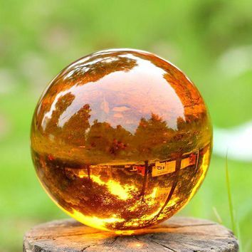 CREYLD1 New Arrivel Crystal Magic Ball Asian Natural Quartz Amber Crystal Healing Quoted Ball with base Sphere Home decor birthday gift