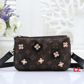 Louis Vuitton LV Women Fashion Leather Flower Crossbody Shoulder Bag Satchel