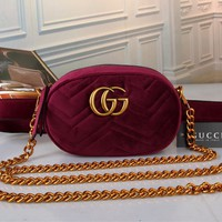 """Gucci"" Women Fashion Velvet Letter Logo Waist Bag Mini Metal Chain Single Shoulder Messenger Bag"