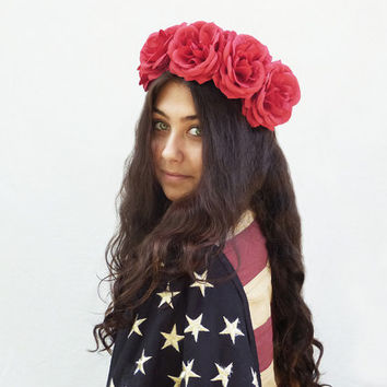 Red Rose Flower Crown - Red Flower Crown, July 4th, Fourth of July, 4th of July, Independence Day, Rose Crown, Rose Headdress, Frida Kahlo
