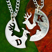 Buck and Doe love quarter customized with one initial each, hand cut coin