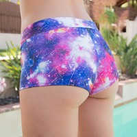 Galaxy Holographic Rave Shorts
