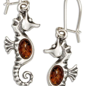 STERLING SILVER BALTIC AMBER SEAHORSE EARRINGS