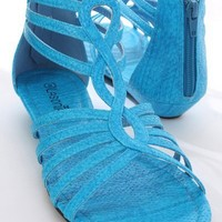 Blue Faux Leather Snake Texture Woven Strap Sandals