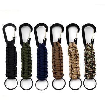 1PC EDC Outdoor Survival Kit Parachute Cord Keychain Military Emergency Paracord Rope Carabiner For Keys 140kg Tensile Strength