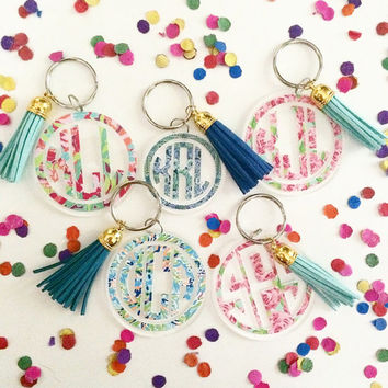 "Lilly Pulitzer 2"" Monogram Keychain with Leather Tassel"