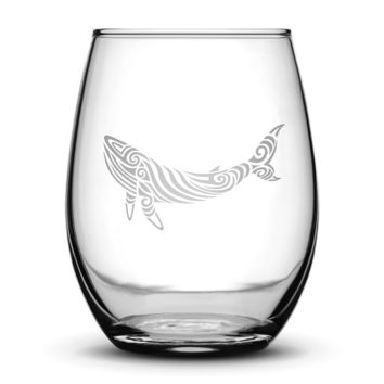 Premium Wine Glass, Whale Design, 16oz