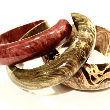 Set of 3 Cuff Bangle Bracelet by Mango Tree Bohemian Boho Exotic Handmade Jewelry