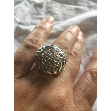 Vintage 925 Sterling Silver Ancient entwined tree of life ring