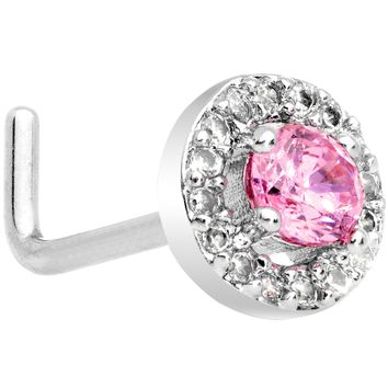 "20 Gauge 1/4"" Clear Pink CZ Gem Round Double Tier L Shaped Nose Ring"