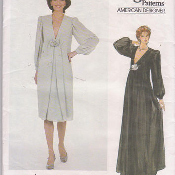 Vintage 1980s pattern by Jerry Silverman special occasion dress, plunging neckline in 2 lengths misses size 14 Vogue 2984 UT and COMPLETE