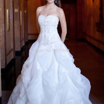 Sexy wedding dress Luxury Sweetheart Beaded Organza Ruffle Wedding Dresses New Fashion 2015 Women Bridal Gowns With Long Train