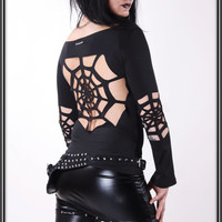 Lunatic - Spiderweb Gothic Shirt Longsleeve Sleeve Sweater Alchemy Diabolic Satanic Deathrock Magic Cutted Ripped sexy STYLE !COPYRIGHT!