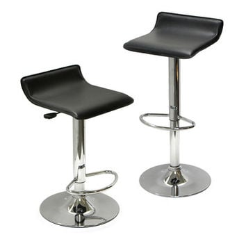 Winsome Wood Spectrum Set of 2 - Adjustable Air Lift Stool - Black Faux Leather