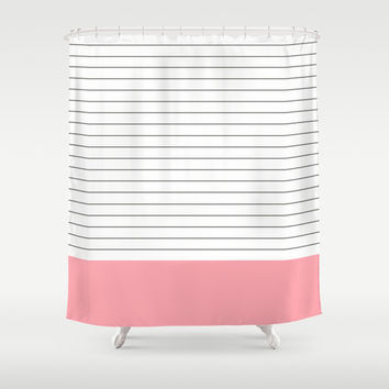 Vintage Dark Grey And Bubble Gum Pink Stripes Shower Curtain By
