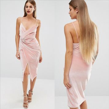Fashion Hot Sale Women Pink Irregular Straps Dress