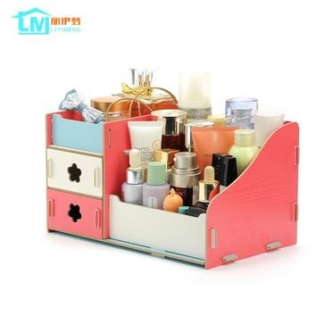 LIYIMENG Makeup Organizer Wooden Storage Box Jewelry Container Case Handmade DIY Assembly Cosmetic Organizer Wood Box For Office