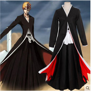 Anime Bleach Ichigo Kurosaki Cloak Robe Pants Cosplay Costume Halloween Uniform
