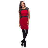 Marc New York Women's Raspberry Red and Leatherette Sheath Dress | Overstock.com Shopping - The Best Deals on Casual Dresses