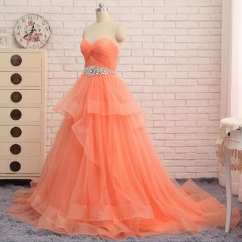 Robe De Soiree Coral Long Evening Dresses Tulle A Line Tulle Floor Length Sash Crystal Beaded Formal