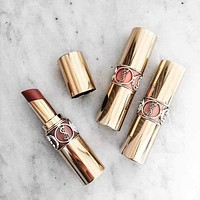 YSL New Fashion Yves Saint Laurent Fashion Women Plastic Tube Round Tube Lipstick Bright Color Moist Lipstick(9-Color)