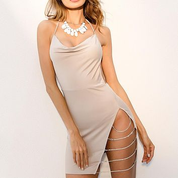 HIGH SLIT WITH SILVER CHAINS CLUB DRESS