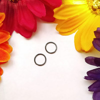 "Black 20g Seamless 5/16"" small Ring Hoop 316 lvm steel body jewelry ear eyebrow rook nose smiley helix lip nipple"